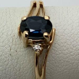 Sapphire Diamond 14 Kt Gold Ring Size 7